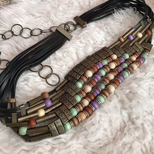 Vintage beaded belt with chain